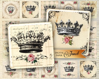 Crowns - squares image - digital collage sheet - 1 x 1 and 2 x 2 inch - Printable Download