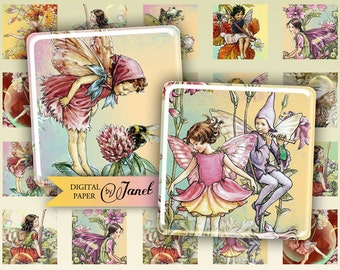 Little Fairy - squares image - digital collage sheet - 1 x 1 inch - Printable Download