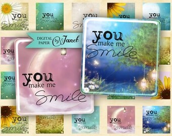 You Make Me Smile - squares image - digital collage sheet - 1 x 1 inch - Printable Download