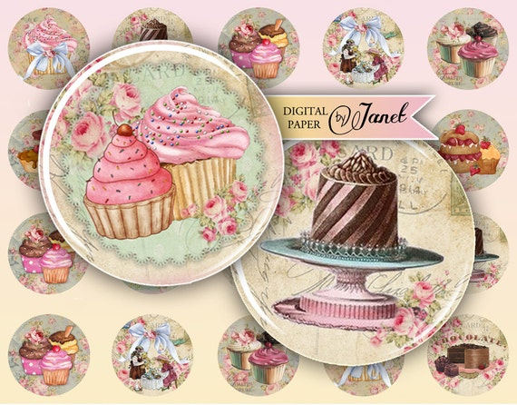 Little Patisserie - circles image - digital collage sheet - 1 x 1 inch - Printable Download