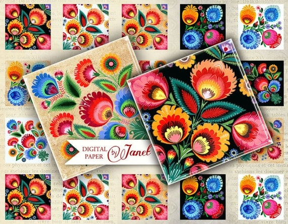 Polish Moods - squares image - digital collage sheet - 1 x 1 inch - Printable Download