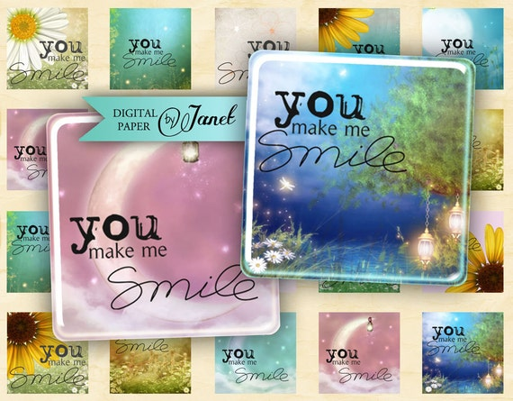 You Make Me Smile - squares image - digital collage sheet - 1 x 1 inch - Printable Download