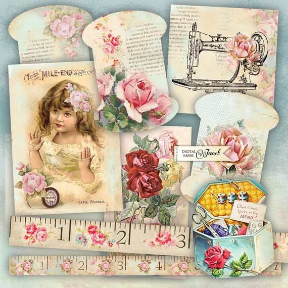 Vintage Sewing Set - digital collage sheet - Printable Download - Instant Download