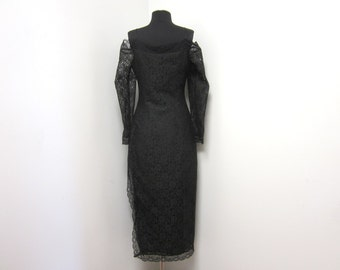 1980s Black Lace Dress with Long Sheer Lace Drop Sleeves Long Side Slit - Size 8 - Vegan Goth Gothic