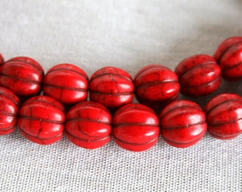 10mm Red Magnesite Melon Beads