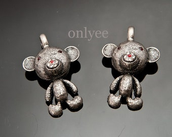 2pcs- 42mmX28mm Antiqued Silver Patina Cutie bear With Zircon (A344-S)