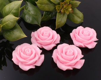 50%off 8pcs-30mm Large Detaied Leaves Rose Resin Cabochons -Pink(J106D)