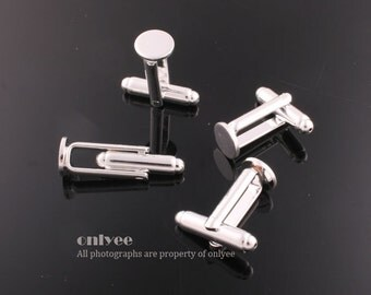 5pairs/10pcs-Silver plated Brass Cuff Links Cufflink Blank With 8mm pad(E313S)