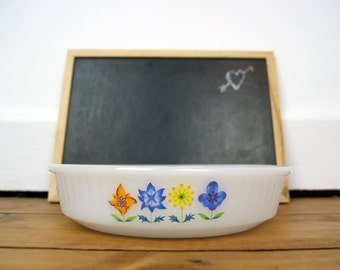 Vintage Phoenix Opalware Oven Flan Dish with Floral Pattern