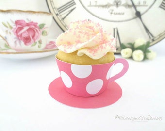 MINI Mad Hatter Tea Cup Printable Cupcake Wrappers With Saucer - Tea Party Big Bold Polka Dot Design DIY  (Choose your colours)