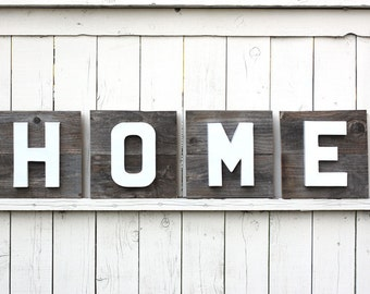 HOME Sign on Reclaimed Wood with Dimensional Painted Letters