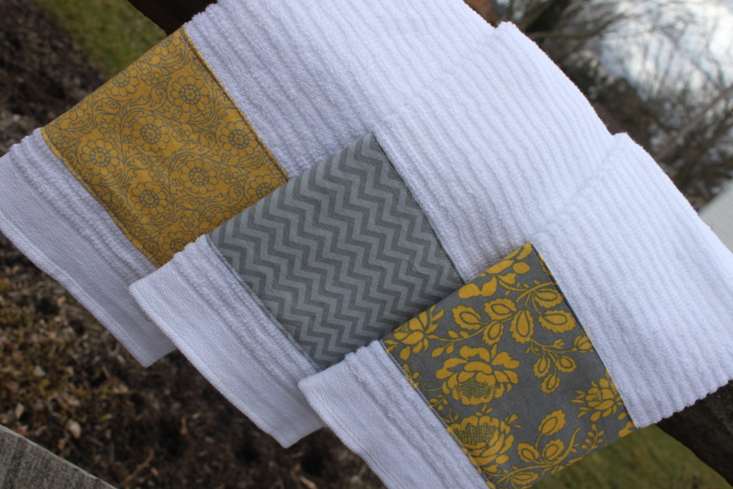 kitchen towels set of 3 with gray and yellow accents dish. Black Bedroom Furniture Sets. Home Design Ideas