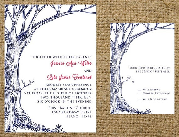 Vintage bare rustic tree wedding invitation set wording for Free printable tree wedding invitations