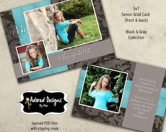 Template Photoshop Senior Announcement Cards - One 5x7 Instant Download Graduation Card Front and Back (Black & Gray Collection card 3)