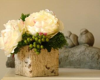 birch bark wood vases ,square wedding flower pot, planter, centerpieces wood boxes woodwork,rustic, chic wedding
