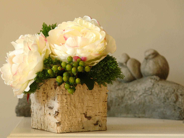 Birch bark wood vases square wedding flower pot planter