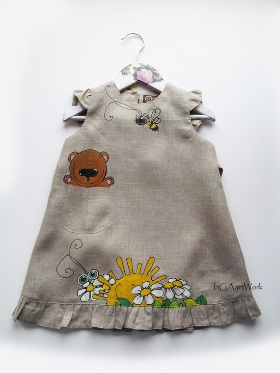 Lace Gray linen Girl Dress  - hand-painted - ready to ship - summer  - ON ORDER ONLY - flower girl dress - Natural linen girl dress -vintage