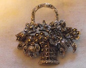 vintage macasite brooch of basket of flowers