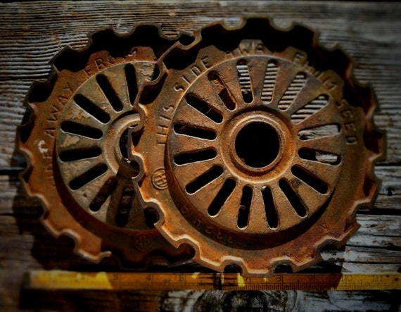 Cast Iron Wheels And Gears : Vintage decorative cast iron gears antique industrial