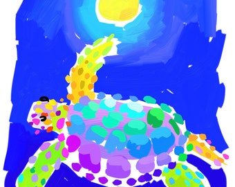 Sea Turtle Print 8.5x11 Blue Aqua Yellow by artist Kelly Tracht, Coastal Art, Ocean Art Item #2B