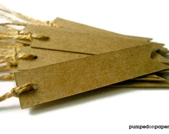 kraft gift tags - pennant flag - rustic - set of 20
