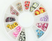 J-055 / 120 pcs 12 different designs , Fimo Nail Art Wheel , Polymer Clay Cane for Craft , Kawaii