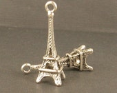 2 Little Ox Silver Eiffel Tower Charms -  24x8mm - Very Romantic