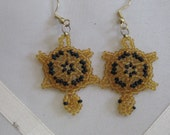 Turtle Earrings - Gold with black