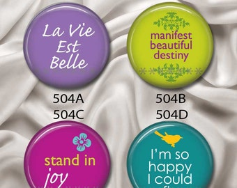 """Life Is Beautiful - Interchangeable Magnetic Design Inserts - FIT Clique and Magnabilities 1"""" Pendant Jewelry Bases...504"""
