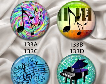 """Love Music & Piano - Interchangeable Magnetic Design Inserts - FIT Clique and Magnabilities 1"""" Jewelry Bases...133"""
