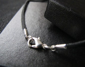Black Necklace Cord, Handmade by Clique Designs - Silver Plated Lobster Clasp