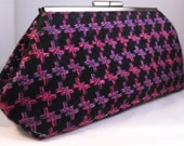 Black and Purple Houndstooth Tweed Style Clutch