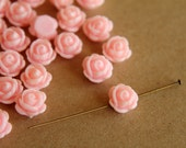 20 pc. Baby Pink Glossy Rose Cabochons 9mm  with hole | RES-093