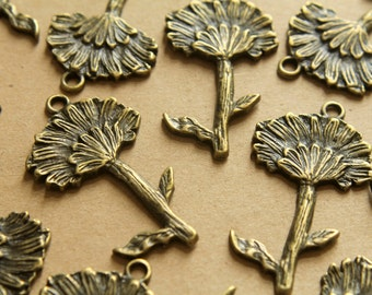 5 pc. Antique Bronze Dandelion Pendants, 47mm x 27mm | MIS-016