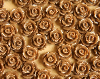 30 pc. Chocolate Brown Glossy Rose Cabochon 10mm | RES-267