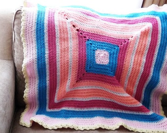 Baby Blanket Multicolor Granny Square Handmade Baby Shower Gift Colorful Crocheted for Crib, Bassinet, Stroller, or Car Seat
