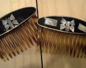 Vintage Mother of Pearl Hair Combs - Made in France - Cute Inlaid Design