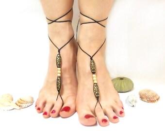 Black barefoot sandal, Free Shipping, Gothic Anklet, beaded sandals, Black bangle, Toe ring anklet, Slave anklet, Yoga