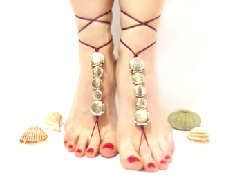 Barefoot Jewelry, Burgundy, Barefoot sandal, Sexy feet, grey silvery beaded barefoot sandal, chamois leather, Anklet, wedding, yoga, beach
