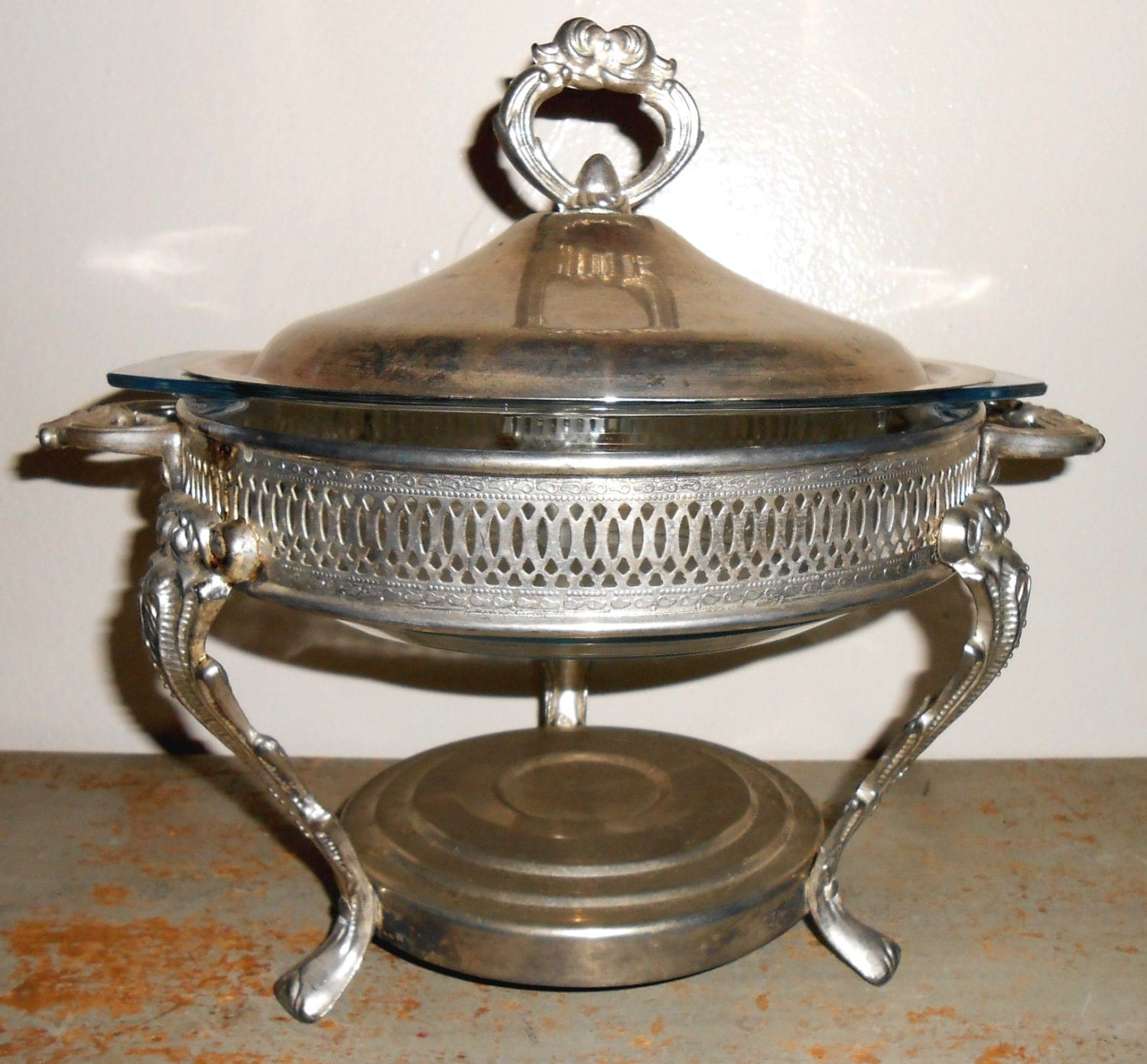 Vintage Chafing Dish Silver Ornate Bowl Lid Stand By