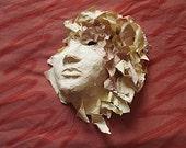 Sculpture Paper Mache 3/4 Mask Fine Art Wall Hanging