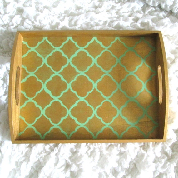 gold quatrefoil decorative serving tray w mint green accent color - Decorative Serving Trays
