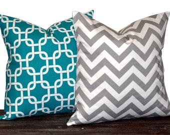 """18"""" Pillow Covers - Turquoise and White Gotcha and Grey Chevron -Accent Pillows - 18 x 18 inch - TWO PILLOW COVERS"""