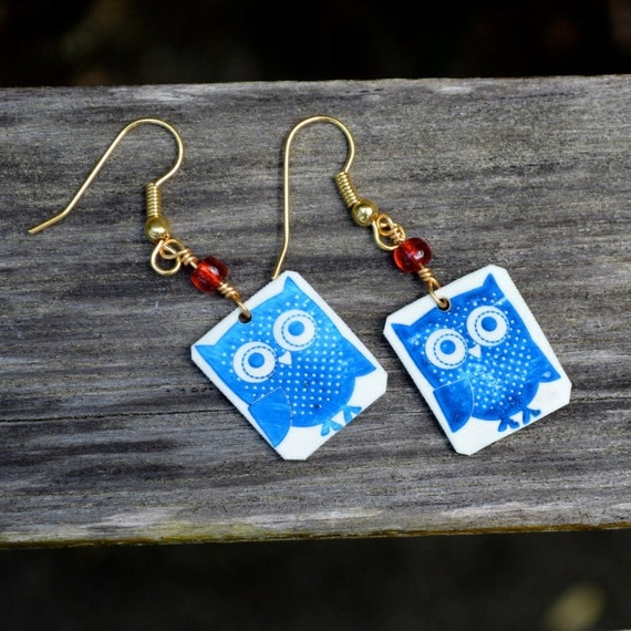Little blue owl earrings