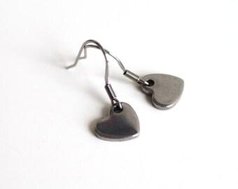 Small heart stylish earrings, petite surgical steel earrings, simple everyday jewelry