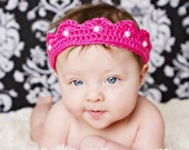 Crochet Princess Crown, Baby Girl Princess Headband, Newborn Photo Prop