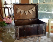 Rustic Wedding Card Box,Burlap Banner.