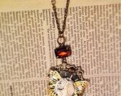 Steampunk pendant - framed clockwork butterfly