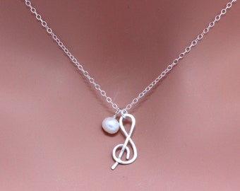 Silver Music Note Necklace. Sterling Silver Music lover Necklace with Freshwater Pearl.Handmade Sterling Silver Music Charm Necklace.