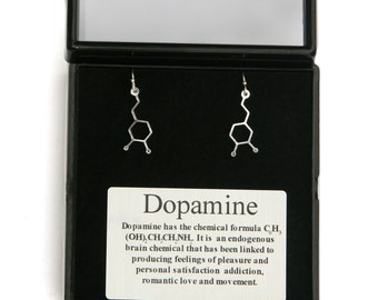 Dopamine Molecular Structure earrings-  The chemical structure of dopamine  sterling silver lever back earwires science gift dopamine info